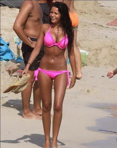 Michelle Keegan big tits in hot pink Bikini