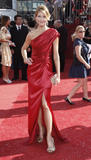 Actress Tricia Helfer arrives at the 60th Primetime Emmy Awards in Los Angeles, Sunday, Sept. 21, 2008